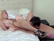 Petite blonde is happy to deal with seasoned dude who softly drills her hole 4