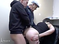 French MILF with glasses can't wait any more to get double penetrated by handsome men