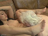 Old woman teaches young and sexy companion how to have amazing lesbian sex 10