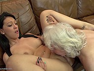Old woman teaches young and sexy companion how to have amazing lesbian sex 9