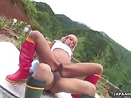 Young villager takes care of glamour Japanese hottie's hairy pussy in the garden 8