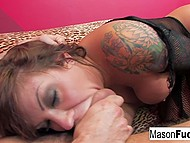 Slutty MILF sucks dick of strong dude and makes him feel like real king 11