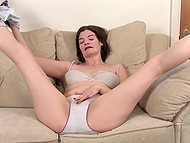 Brunette mature woman likes to flaunt bushy vagina, besides domination and being spanked 7