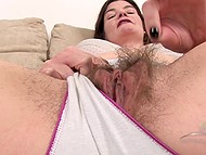 Brunette mature woman likes to flaunt bushy vagina, besides domination and being spanked 9