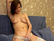 Teenage Estonian sweetie finds exciting occupation namely showing off big breasts on webcam 11
