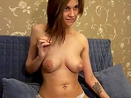 Teenage Estonian sweetie finds exciting occupation namely showing off big breasts on webcam 5