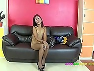 Petite newbie from Thailand demonstrates dancing moves and some blowjob skills a bit later 7