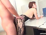 Office worker from Japan puts on lace bodystockings to please her four-eyed boss