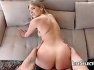 POV porn video of lucky fellow fucking seductive blonde with round butt and unshaven pubis