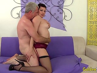 Mature hottie loves to feel embrace of adult man especially when he nails her