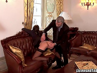 Gallant gentleman with mustache is picking up sexy collaborators to satisfy his whims