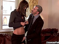 Gallant gentleman with mustache is picking up sexy collaborators to satisfy his whims 7