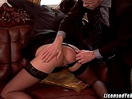 Gallant gentleman with mustache is picking up sexy collaborators to satisfy his whims 8