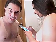 Middle-aged man was jerking dick watching porn videos when curvaceous Spanish MILF joined him 9
