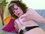 Unshaved cunt of dark-haired old woman is in tight contact with adult toy right now 8