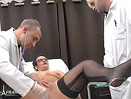 French woman knows where to have fun and comes to handsome doctors for portion of lust
