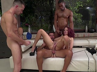 Redhead enthusiastically gives blowjob and gets double penetration while her girlfriends wait for their turn