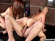 Hot nymphs in strange room take turns to ride mighty dick with a piercing 8