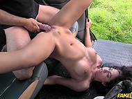 Playful chick and cab driver marked unexpected meeting with dirty sex on bonnet 7