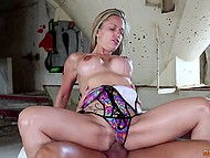 Scorching blonde with nice boobs and her partner have active sex in abandoned building 11