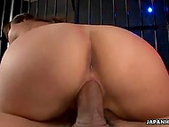 Bald-headed pervert lures seductive Japanese girl in dungeon for fucking her pussy 8