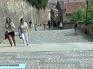 Naked brunette girl walks through small Italian streets attracting many tourists' attention 4