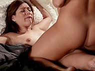 Dark-haired girlfriends slowly undressed and thoroughly moistened their delicious vaginas 4