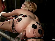 Smoking-hot babe in fashioned lingerie put on strapon and fucked tied up doll with glasses 4