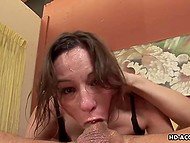 Tempting beauty uses deep throat continuously to bring male a lot of pleasure 8