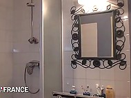 Lustful French let master play with her body for doing his job after taking relaxing shower 5