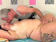 Big woman needs love too and mature guy can bring her to heaven by using nice dildo