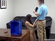Interviewer recommended girl to producer after fucked her asshole and filled it with semen