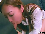 Pretty Japanese girl in white shirt swallows boyfriend's hard cock in POV porn video 9
