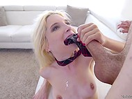 Strong guy takes wonderful blonde with force and drills her actively on sofa 11