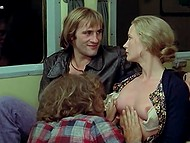 Gerard Depardieu and his mustached friend are having wonderful sex with hot blonde 4