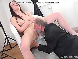 Polish model was tempting old photographer with gray beard and he got small cock hard