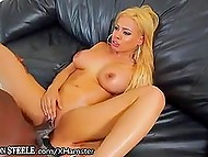 Golden-haired Latina with big breasts attracts huge black cock in pussy as by magnet