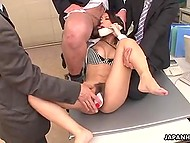 Three stylish workers try their best leading secretary's hairy pussy to squirt in office
