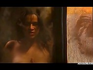 Hollywood movie fragment: famous actress Michelle Rodriguez looks at her pussy and tits in mirror