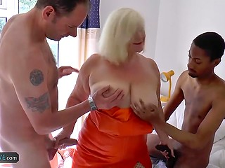 There were two women at dinner but man and black friend fucked blonde mature