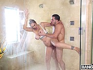 Hungry for males MILF Julia Ann joined stepson taking shower because she needed his cock 5