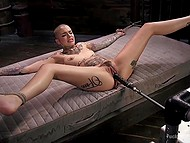 Tattooed bald woman enjoys powerful fucking machine nailing her pussy in different positions 4