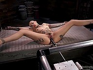 Tattooed bald woman enjoys powerful fucking machine nailing her pussy in different positions 6