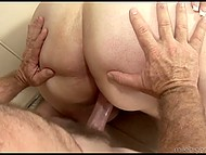Mature man gets lucky to penetrate dark-haired BBW's wide vagina and cums on her face 6