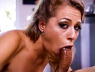Young chick with deep throat swallows cameraman's fat boner with ease in HD porn video 6