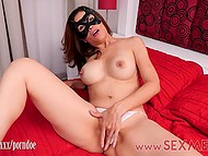 Captivating Mexican MILF in mask takes clothes off and rubs vagina till it squirts