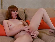 Redhead gives interview to sexy reporter and shoves her fingers deep in hole 4