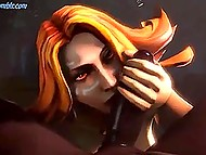 Female characters of popular game Dota 2 leave the battleground for treating some huge weapons 4