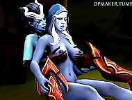 Female characters of popular game Dota 2 leave the battleground for treating some huge weapons 5