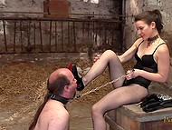This lady is real tamer of men and poor fellow has to obey all her commands